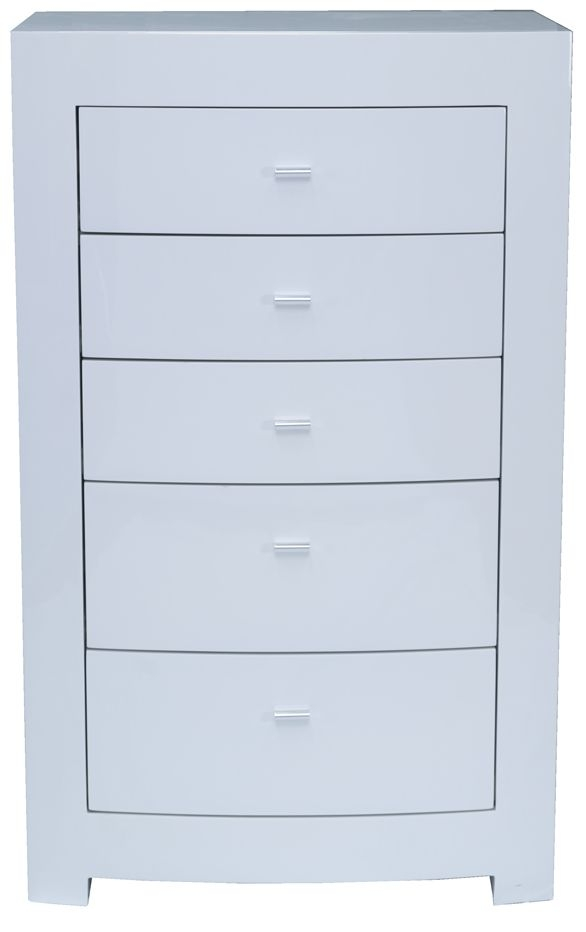Vida Living Newport White High Gloss 5 Drawer Chest