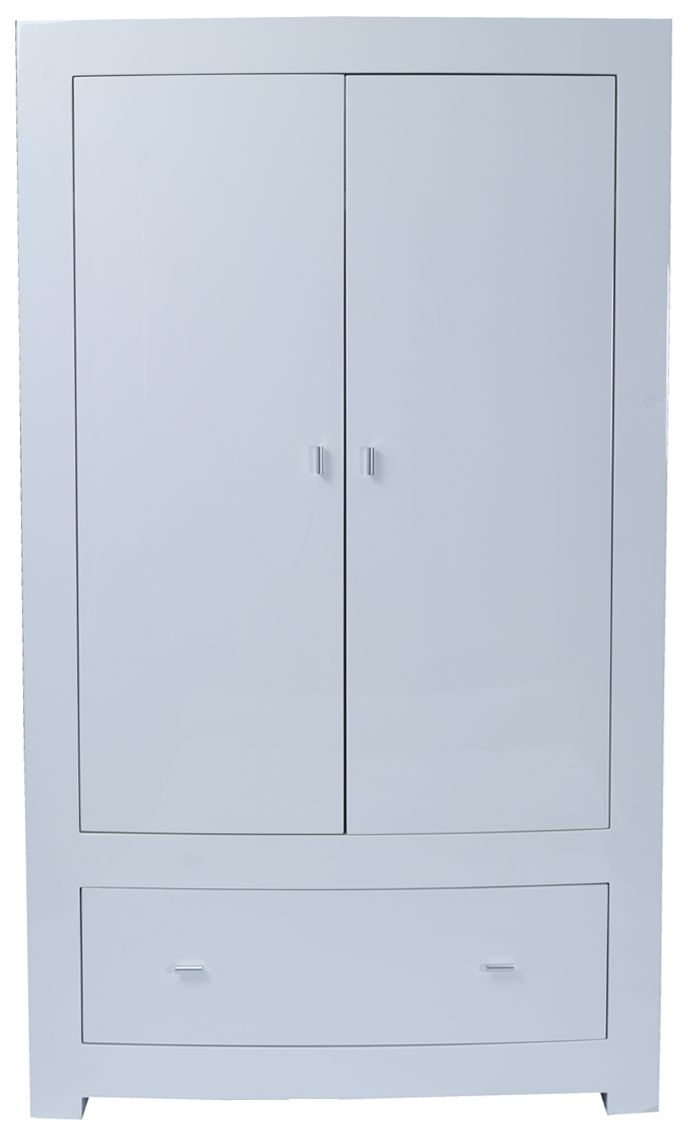 Vida Living Newport White Gloss Double Wardrobe - 2 Door 1 Drawer