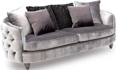 Vida Living Nicolette Pewter Velvet 3 Seater Sofa