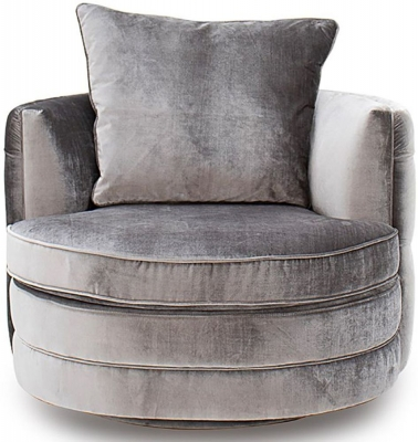 Vida Living Nicolette Pewter Velvet Swivel Chair