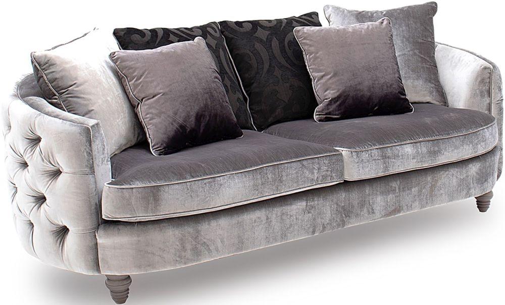 Vida Living Nicolette Silver Velvet 3 Seater Sofa