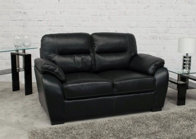 Vida Living Novara 2 Seater Leather Fixed Sofa - Black