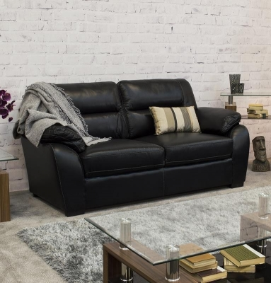 Vida Living Novara 3 Seater Leather Fixed Sofa - Black