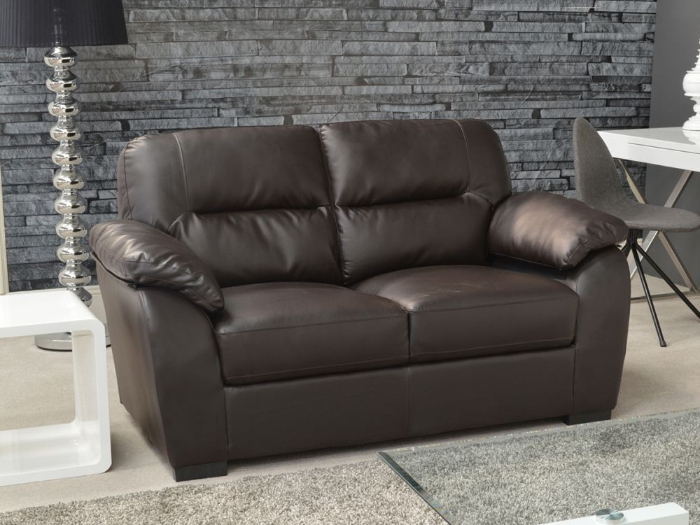 Vida Living Novara 2 Seater Leather Fixed Sofa - Brown
