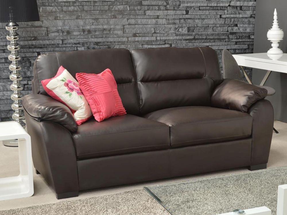 Vida Living Novara 3 Seater Leather Fixed Sofa - Brown