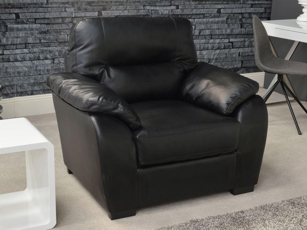 Vida Living Novara Leather Fixed Armchair - Black