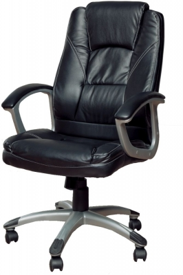 Vida Living Office Exclusive Leather Chair - Black