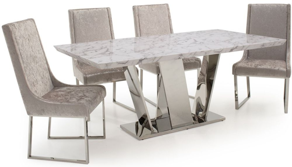 Vida Living Olena Marble Dining Set - 160cm with 4 Champagne Chairs
