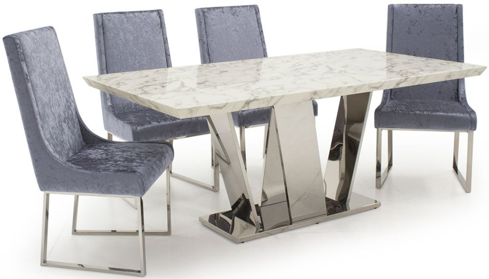 Vida Living Olena Off White Marble Dining Set - 180cm with 4 Damson Chairs