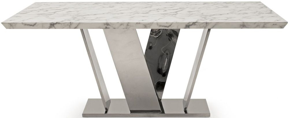 Vida Living Olena Off White Marble Rectangualr Fixed Top Dining Table - 160cm