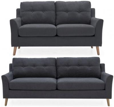 Vida Living Olten Charcoal Fabric 3+2 Seater Sofa