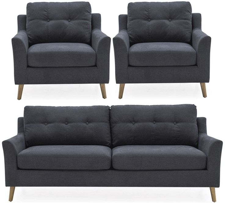 Vida Living Olten Charcoal Fabric 3+1+1 Seater Sofa