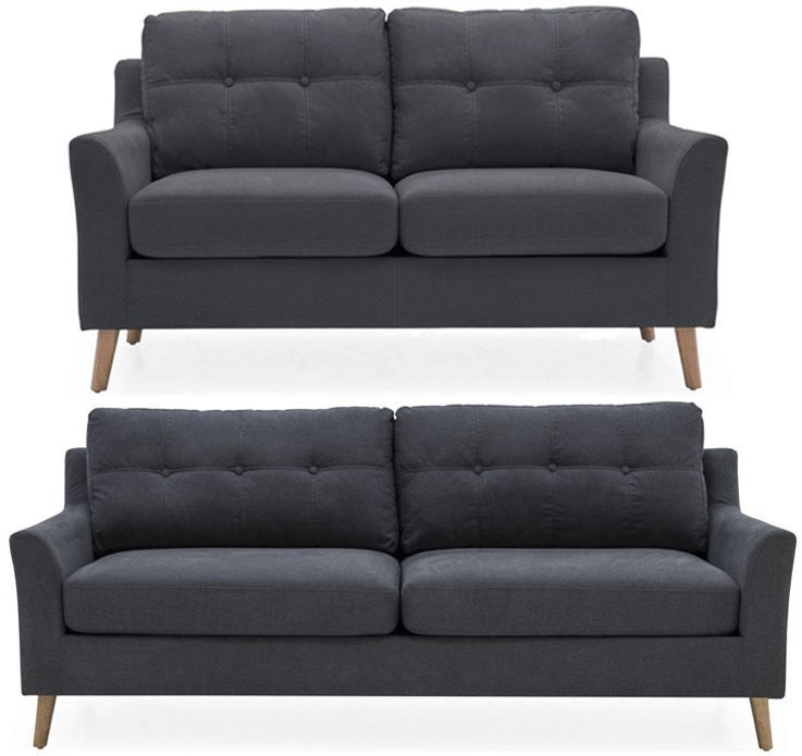 Vida Living Olten Charcoal Fabric 3+2 Seater Sofa
