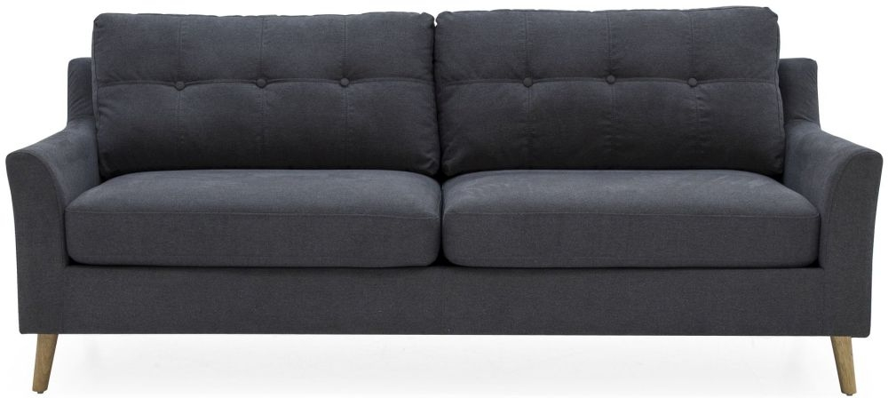 Vida Living Olten Charcoal 3 Seater Fabric Sofa
