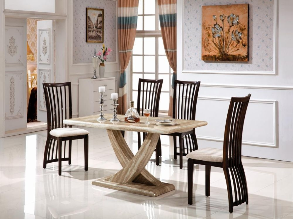 Vida Living Olympia Marble Sahara Dining Set - Large with 4 Elgin Stone Fabric Chairs