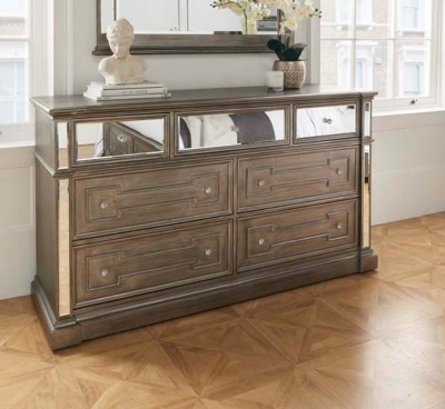 Vida Living Ophelia Grey Mirrored 4+3 Drawer Dressing Chest