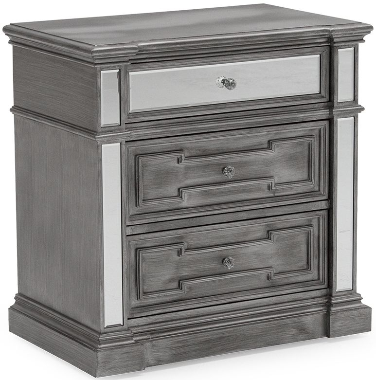 Vida Living Ophelia Bedside Cabinet with Silver Mirror Panel