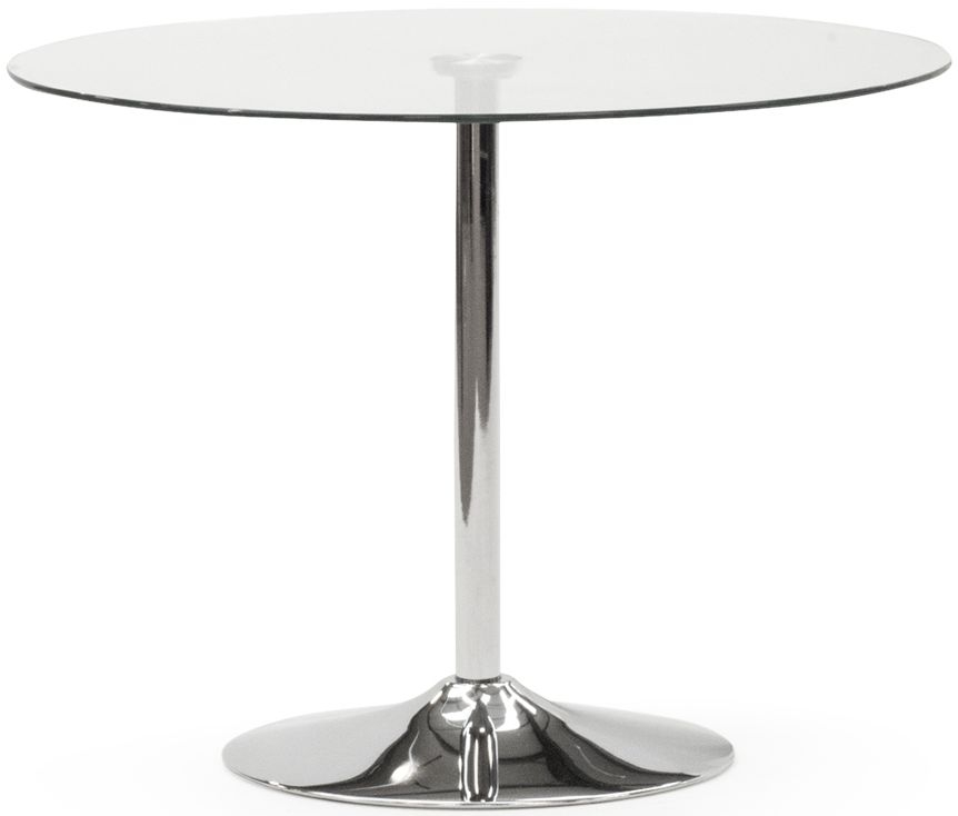 Vida Living Orbit 100cm Glass and Stainless Steel Chrome Round Dining Table