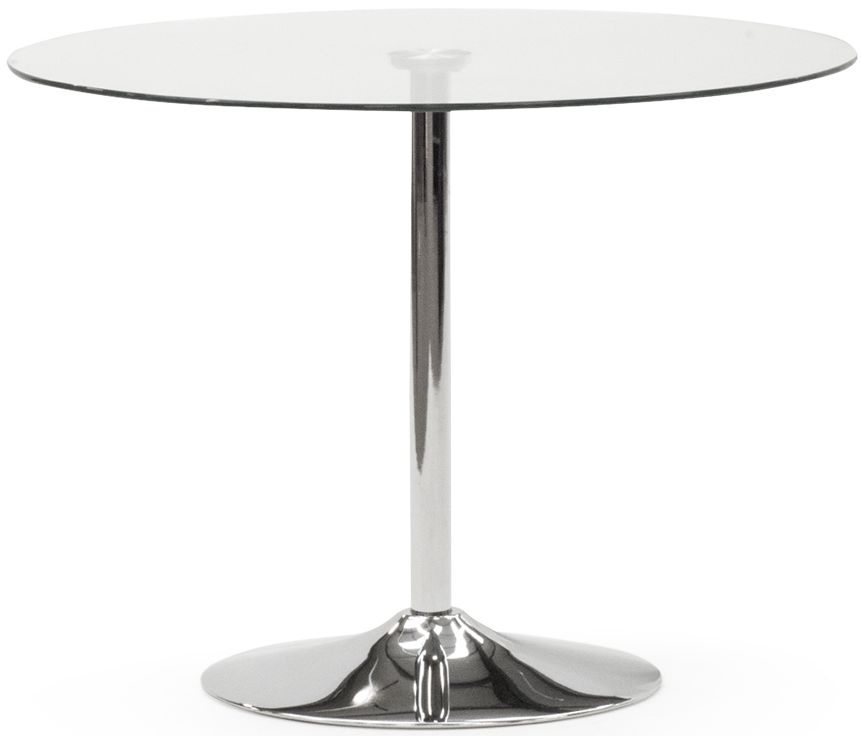 Vida Living Orbit Round Small Dining Table - Glass and Chrome
