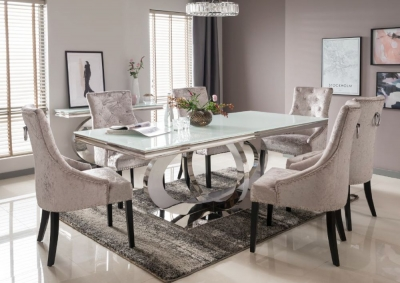 Vida Living Orion Metal and White Glass Top Rectangular 220cm Dining Set with 6 Eden Knockerback Chairs
