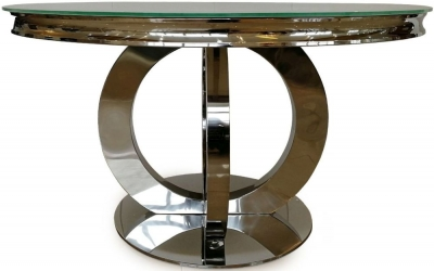 Vida Living Orion 130cm White Glass Round Dining Table
