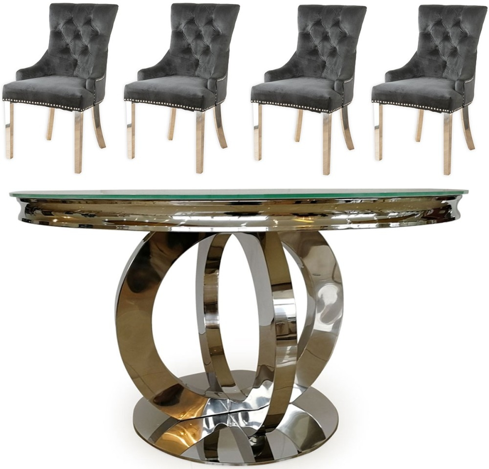 Vida Living Orion 130cm Round Dining Table with 4 Black Velvet Knockerback Chairs - Glass and Chrome