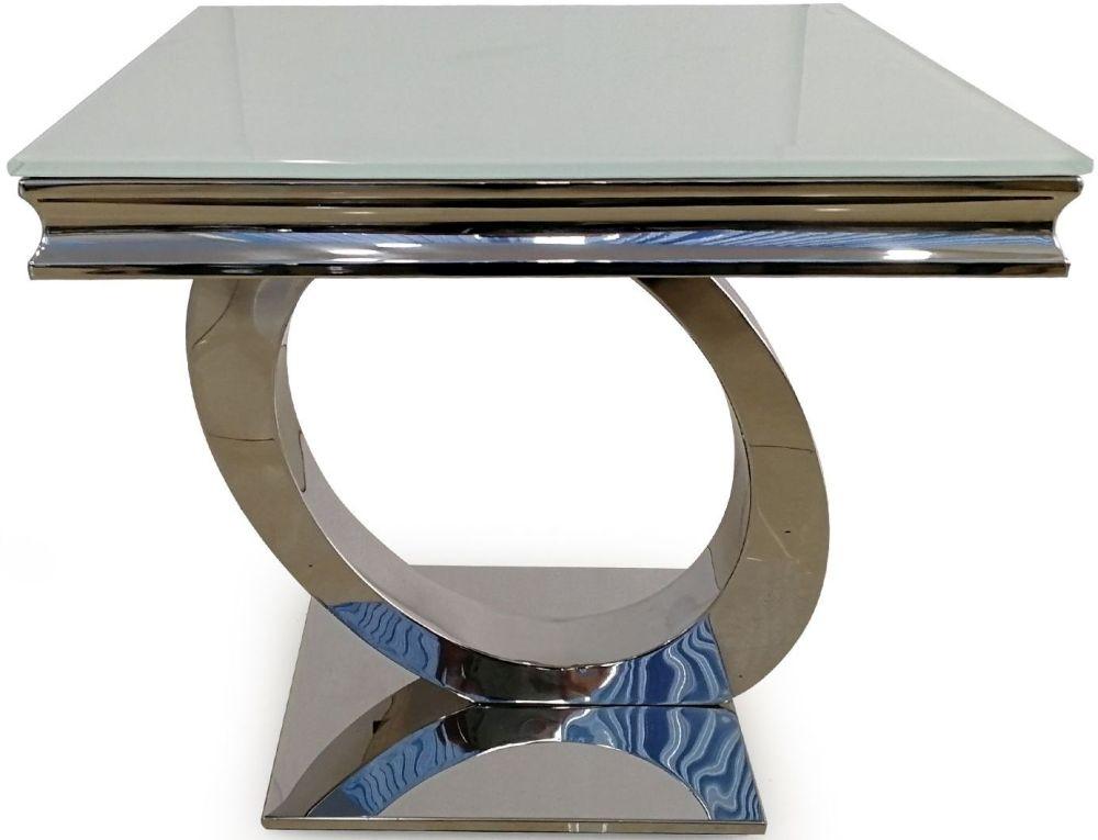 Vida Living Orion White Glass Lamp Table