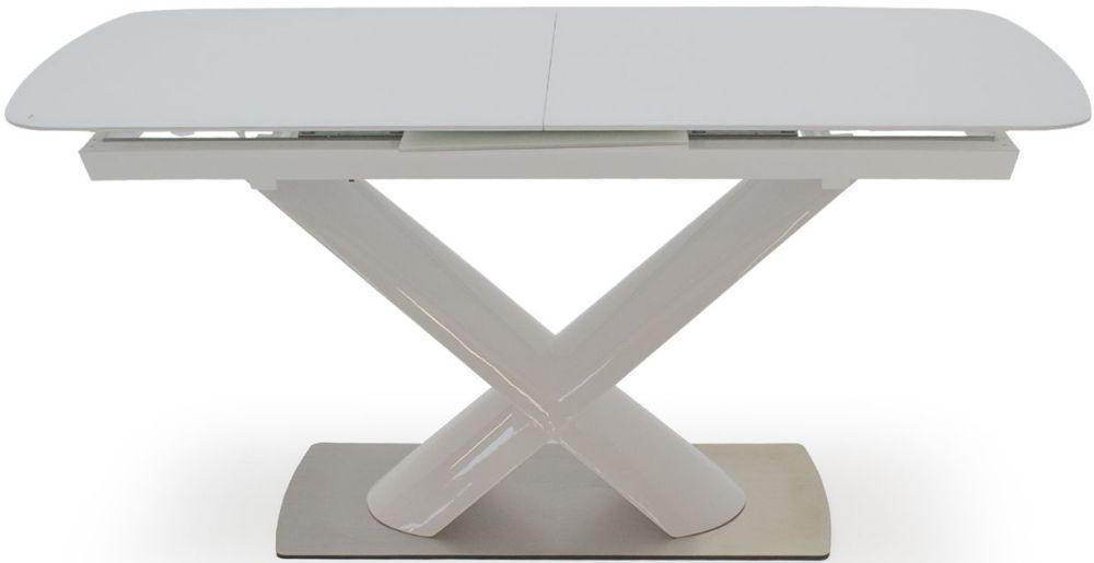 Vida Living Orsina White Glass Top Dining Table - 160cm-200cm Rectangular Extending