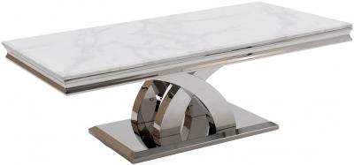 Vida Living Ottavia Coffee Table - Bone White Marble and Chrome