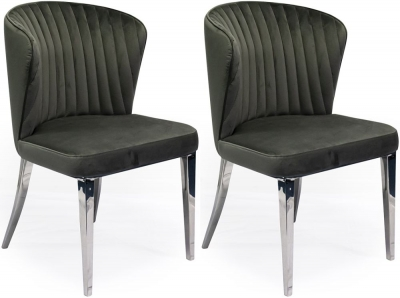Vida Living Ottavia Dining Chair - Velvet and Chrome (Pair)