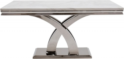 Vida Living Ottavia 160cm Dining Table - Bone White Marble and Chrome
