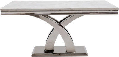 Vida Living Ottavia 180cm Dining Table - Bone White Marble and Chrome