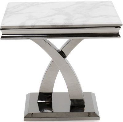 Vida Living Ottavia Bone White Marble Lamp Table