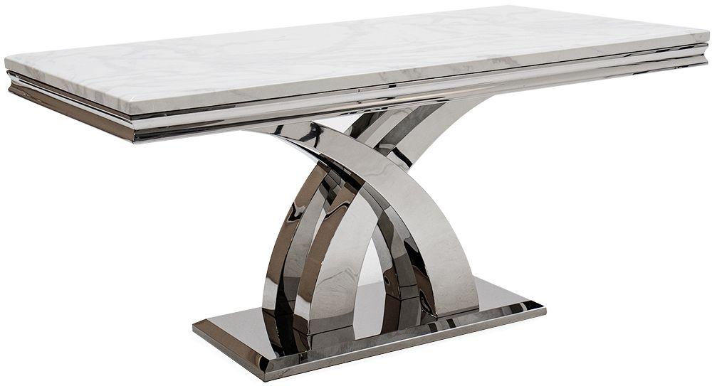 Vida Living Ottavia 160cm Dining Table - Bone White Marble and Chrome