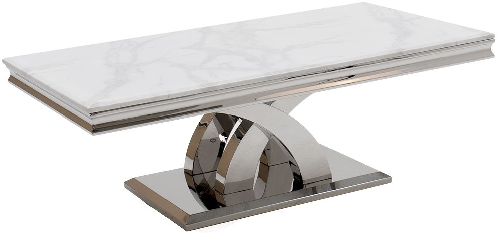 Vida Living Ottavia Coffee Table - Bone White Marble and Chrome