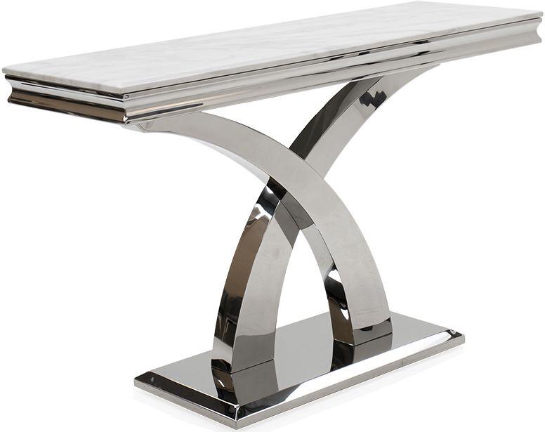 Vida Living Ottavia Console Table - Bone White Marble and Chrome
