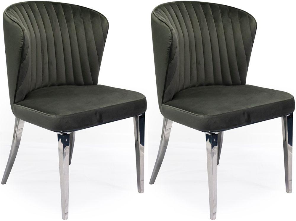 Vida Living Ottavia Dining Chair - Velvet and Chrome (Pair)