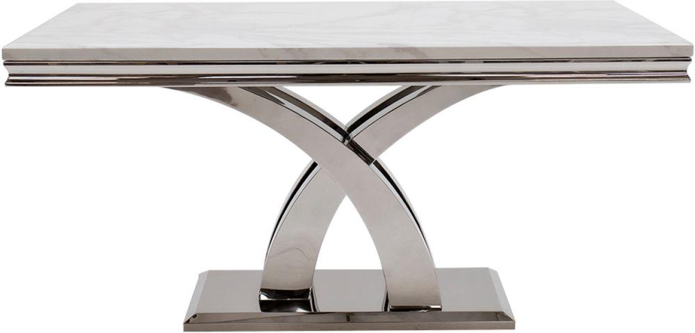 Vida Living Ottavia 160cm Bone White Marble Dining Table
