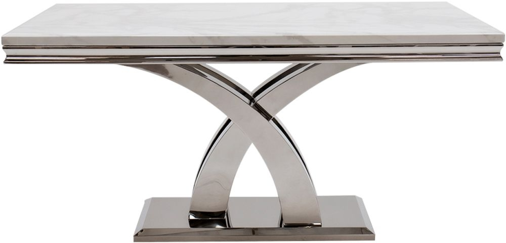 Vida Living Ottavia 180cm Dining Table - Bone White Marble and Chrome