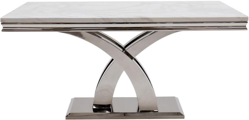 Vida Living Ottavia 200cm Dining Table - Bone White Marble and Chrome