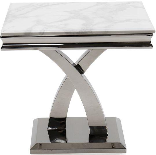 Vida Living Ottavia Lamp Table - Bone White Marble and Chrome