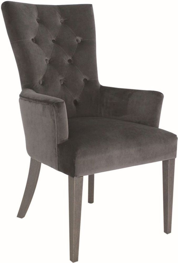 Vida Living Pembroke Arm Chair - Charcoal Velvet