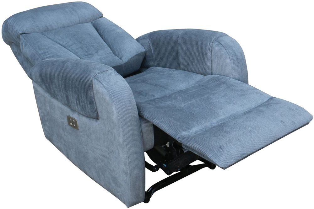 Vida Living Phoebe Blue Fabric Recliner Armchair