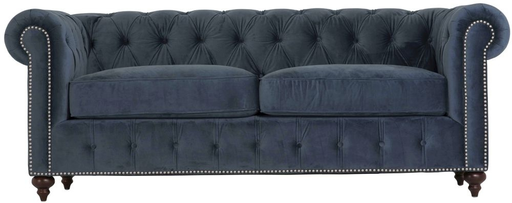 Vida Living Porter Midnight 3 Seater Brushed Velvet Sofa