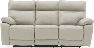 Vida Living Positano Light Grey Leather 3 Seater Electric Recliner Sofa