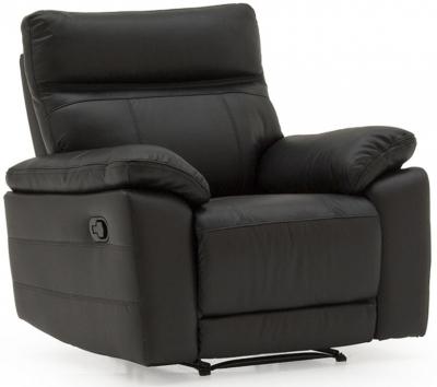 Vida Living Positano Black Leather Recliner Chair
