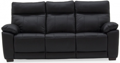 Vida Living Positano Black Leather 3 Seater Sofa