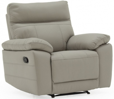 Vida Living Positano Light Grey Leather Recliner Chair