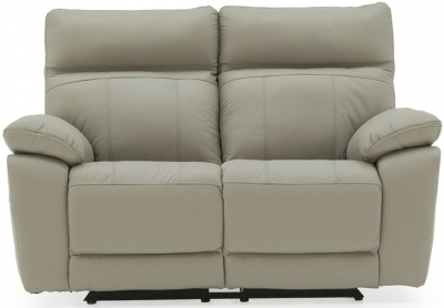Vida Living Positano Light Grey Leather 2 Seater Recliner Sofa