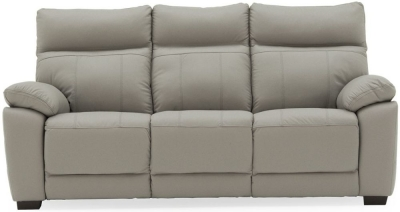 Vida Living Positano Light Grey Leather 3 Seater Sofa